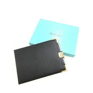 Tiffany&Co.(ティファニー)レザーアドレス帳 黒/ゴールド レディース