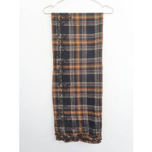 axes femme(アクシーズファム)プリントチェックフリルマフラー 茶/赤 レディース Sランク 160 × 60|wanboo