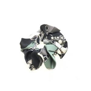 スカーフ柄シュシュ 黒/緑 レディース Aランク|wanboo