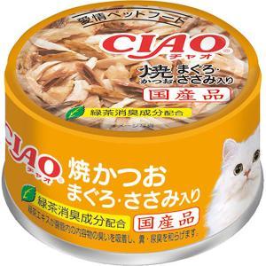 チャオ ホワイティ 焼かつお まぐろ・ささみ入り 85g×24缶