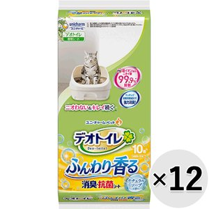 【セット販売】デオトイレ ふんわり香る消臭・抗菌シート ナチュラルソープの香り 10枚×12袋|wannyan-ya