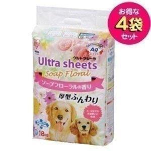 ☆お得な4袋セット☆ソープフローラルの香り付き&愛犬の足に雑菌がつきにくい清潔シーツ♪厚型で吸収力ア...