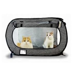 ポータブル ケージ ブラック (猫 ケージ キャット 折り畳み)|wannyan