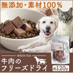 おやつ フード ドライフード 牛肉のフリーズドライ 犬・猫用 120g whitefox (D)(B)|wannyan