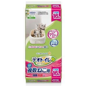 猫用 シート デオトイレ デオトイレ複数ねこ消臭抗菌シート16枚 ユニ・チャーム (D)