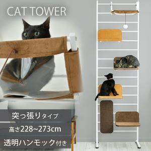 キャットタワー 猫 タワー 突っ張り型 キャットウォークプラス 棚 遊び場 おしゃれ インテリア ス...