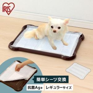 犬 トイレ かわいい シーツぴたっとトレー レギュラー P-SPT アイリスオーヤマ(ピタッと ペット 白 茶 ブラウン ホワイト レギュラー)|wannyan