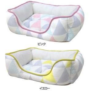 ペットべッド 北欧 夏用 犬ベッド 猫ベッド 犬用ベッド 猫用ベッド 全面接触冷感スクエアベッド 北欧調三角柄 S SB-80 処分販売|wannyan|03