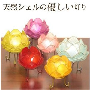 カピスロータスランプS (ピンク・レッド・パープル・イエロー・グリーン・ブルー)(バリ タイ カピス貝 フロアライト ランプ 照明 アジアン イン wanon333
