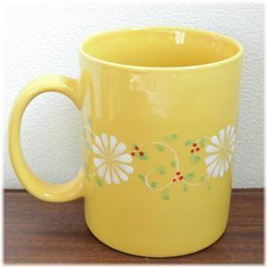 フラワーマグカップ[イエロー]持ち手の付いたお花柄の大きなマグカップ。高温焼きした陶磁器なので従来のバッチャン焼きよりも丈夫です(ベトナム バッチャ|wanon333