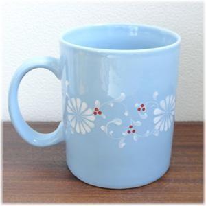 フラワーマグカップ[ブルー]持ち手の付いたお花柄の大きなマグカップ。高温焼きした陶磁器なので従来のバッチャン焼きよりも丈夫です(ベトナム バッチャン焼|wanon333