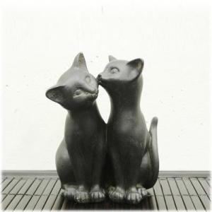 猫 雑貨 猫グッズ アジアン(なかよし猫の置物)ねこ グッズ ネコ 置物 オブジェ 猫の置物 アニマル アニマル雑貨(アジアン 雑貨 アジア雑貨 wanon333