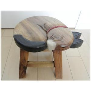 眠り猫ウッドスツールアジアン家具 スツール 踏み台 花台 子供用腰掛 腰掛になるアジアン 補助椅子/玄関 丸椅子(家具 アジアン)猫 グッズ(アジ|wanon333
