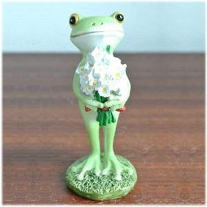 (花束を抱えた カエル)カエル 置物 コポーやカエル グッズ 雑貨(バリ雑貨 アジアン雑貨)風水にもおすすめのカエルの置物(かえる 蛙 フロッグ) wanon333