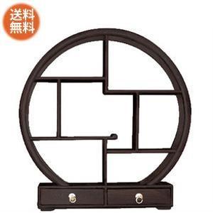 送料無料引き出し付き丸い飾り棚(ミディアムブラウン)《W:50×D:10×H:50》アジアン家具 飾り棚 和風 和家具 違い棚 ディスプレイ 棚|wanon333