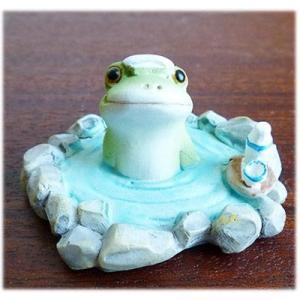 (温泉に浸かる カエル)カエル 置物 コポーやカエル グッズ 雑貨(バリ雑貨 アジアン雑貨)風水にもおすすめのカエルの置物(かえる 蛙 フロッグ) wanon333
