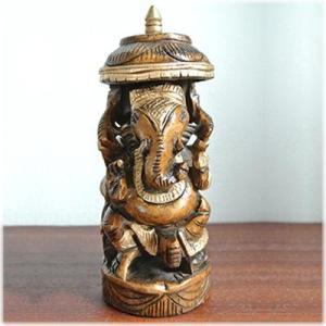 木彫りの傘差しガネーシャインドの神様 ガネーシャ 置物 夢をかなえるゾウ 象の神様 ゾウの神様 学問の神様 仏像 フィギュア 学問 商売繁盛|wanon333