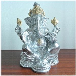石膏のガネーシャ(シルバー)インドの神様 ガネーシャ 置物 夢をかなえるゾウ 象の神様 ゾウの神様 学問の神様 仏像 フィギュア 学問 商売繁盛(|wanon333