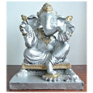 石工のシルバーガネーシャ(台座タイプ)インドの神様 ガネーシャ 置物 夢をかなえるゾウ 象の神様 ゾウの神様 学問の神様 仏像 フィギュア 学問|wanon333