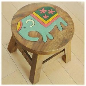 (花柄 ゾウ ウッド スツール)象 置物 ゾウグッズ(バリ雑貨 アジアン雑貨)子供から大人まで可愛いウッドスツール(ゾウ エレファント)子供用腰掛|wanon333