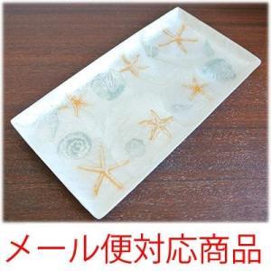 ヒトデと貝殻柄カピスペントレイ(メール便発送できますヒトデ スターフィッシュ 貝殻 雑貨 置物 カピス貝 お皿 トレイ ペントレイ アジアン雑貨|wanon333