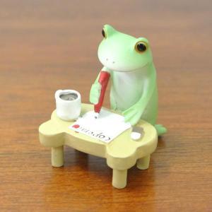 (手紙を書く カエル)カエル 置物 コポーやカエル グッズ 雑貨(バリ雑貨 アジアン雑貨)風水にもおすすめのカエルの置物(かえる 蛙 フロッグ)縁|wanon333