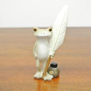 (アンティーク風 カラー 羽ペンを持った カエル)カエル 置物 コポーやカエル グッズ 雑貨(バリ雑貨 アジアン雑貨)風水にもおすすめのカエルの置 wanon333