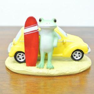 (海までドライブ カエル)カエル 置物 コポーやカエル グッズ 雑貨(バリ雑貨 アジアン雑貨)風水にもおすすめのカエルの置物(かえる 蛙 フロッグ|wanon333