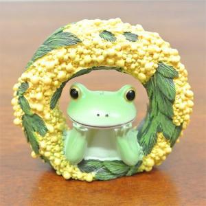 (ミモザ リース カエル)カエル 置物 コポーやカエル グッズ 雑貨(アジアン雑貨)風水にもおすすめのカエルの置物(かえる 蛙 フロッグ)縁起物|wanon333