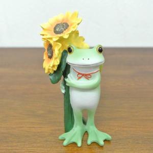 (ひまわりとカエル)コポーやカエル グッズ 雑貨(バリ雑貨 アジアン雑貨)風水にもおすすめのカエルの置物(かえる 蛙 フロッグ)縁起物 置物 カエ|wanon333