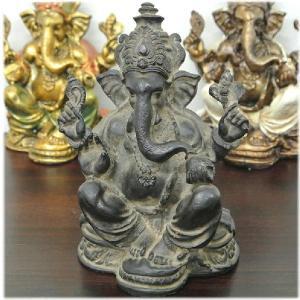 アンティーク風アグンガネーシャ(ブラック)(インドの神様 ガネーシャ 置物 夢をかなえるゾウ 象の神様 ゾウの神様 学問の神様 仏像 フィギュア|wanon333