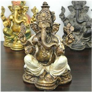 アンティーク風アグンガネーシャ(ゴールド&ホワイト)インドの神様 ガネーシャ 置物 夢をかなえるゾウ 象の神様 ゾウの神様 学問の神様 仏像 フィ|wanon333