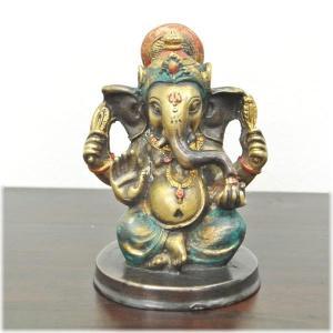 アンティーク風真鍮のガネーシャ(MIXカラー)(インドの神様 ガネーシャ 置物 夢をかなえるゾウ 象の神様 ゾウの神様 学問の神様 仏像 フィギュ|wanon333