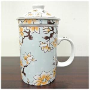 (茶漉し付マグカップ[木蓮])茶漉しと蓋付きで気軽にティータイム(中国茶器 フタ付 大きい 茶こし付きマグカップ 和 台湾 アジアン雑貨 お土産 おし|wanon333