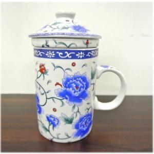 (茶漉し付マグカップ[青い薔薇])茶漉しと蓋付きで気軽にティータイム(中国茶器 フタ付 大きい 茶こし付きマグカップ 和 台湾 アジアン雑貨 お土産|wanon333