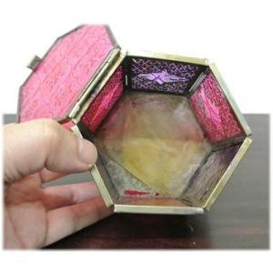 (すりガラスの六角形小物入れ)小物入れ ガラスケース ふた付き キャンドルホルダー アンティーク アジアン インド 雑貨(アジアン 雑貨 キャンド wanon333 04