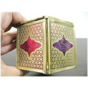 (すりガラスの六角形小物入れ)小物入れ ガラスケース ふた付き キャンドルホルダー アンティーク アジアン インド 雑貨(アジアン 雑貨 キャンド wanon333 05