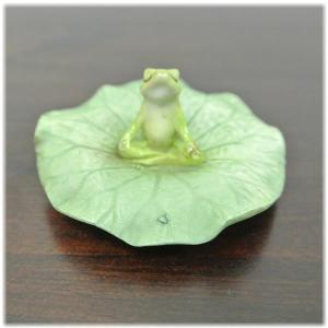 (ロータスの葉 座禅 カエル)カエル 置物 カエル グッズ 雑貨(バリ雑貨 アジアン雑貨)風水にもおすすめのカエルの置物(かえる 蛙 フロッグ)縁 wanon333