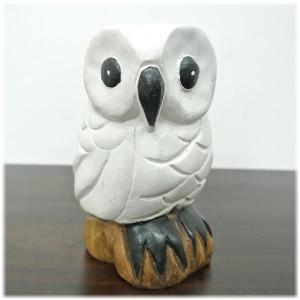 (木彫り 白い フクロウ)ハワイアン雑貨 置物 ハワイ 雑貨 ハワイアン グッズ(ふくろう 梟 )風水にもおすすめのフクロウの置物(ハワイ雑貨 バリ雑 wanon333