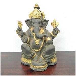 石膏のガネーシャ(アンティーク仕上げ)インドの神様 ガネーシャ 置物 夢をかなえるゾウ 象の神様 ゾウの神様 学問の神様 仏像 フィギュア 学問(|wanon333