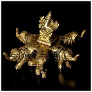 12本立て ブラス製 ゾウの台座 ガネーシャ お香立てインドの神様 ガネーシャ 置物 仏像 フィギュア 学問 神様 アジアン雑貨 雑貨 香炉 仏具|wanon333