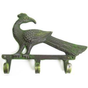 (孔雀の3連フックハンガー)孔雀 ピーコック 鳥 バード モチーフ 壁掛け フック ウォールフック (アニマル おしゃれ アジアン インド)雑貨 wanon333