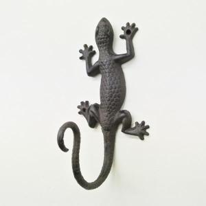 (アイアン トカゲ フック 直)蜥蜴 モチーフ 壁掛け フック ウォールフック (アニマル おしゃれ アジアン 中国)雑貨 フック インテリア 鉄|wanon333