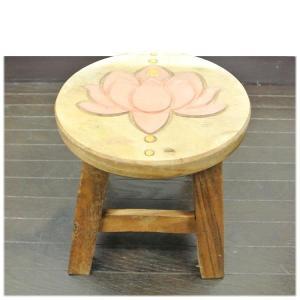 (ピンク ロータス ウッド)スツール 木製 丸 蓮 置物 ロータスグッズ(バリ雑貨 アジアン雑貨)可愛いウッドスツール(ハス ロータス)子供用腰掛|wanon333