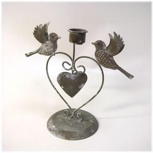 (2匹の小鳥 ハート アイアンキャンドルホルダー)キャンドルホルダー アンティーク アジアン インド 雑貨 キャンドル(アジアン 雑貨 キャンドル|wanon333