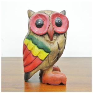 (木彫り フクロウ)ハワイアン雑貨 置物 ハワイ 雑貨 ハワイアン グッズ(ふくろう 梟 )風水にもおすすめのフクロウの置物(ハワイ雑貨 バリ雑貨|wanon333