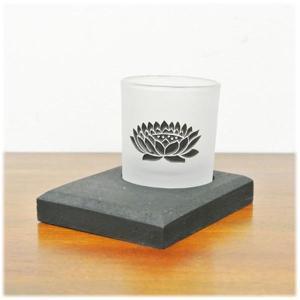 (ロータス ガラス キャンドルグラス[ブラック])アジアン 雑貨 キャンドルホルダー ガラス ロータス 燭台 キャンドル スタンド キャンドルスタ|wanon333