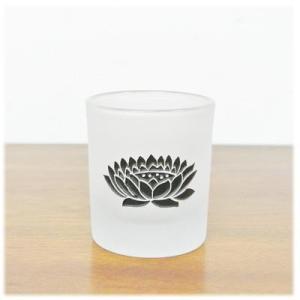 (ロータス ガラス キャンドルグラス[ブラック])アジアン 雑貨 キャンドルホルダー ガラス ロータス 燭台 キャンドル スタンド キャンドルスタ wanon333 03