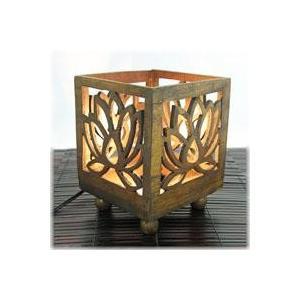 チークウッドランプ(ロータス)(アジアン バリ 雑貨 タイ チーク フロアライト ランプ インテリア フロアーライト 蓮 間接照明 ウッド フロア wanon333