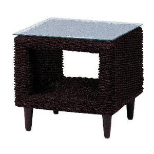 GLANZ アバカ素材ガラスサイドテーブル[ダークブラウン]《W:50×D:50×H:45》アジアン家具 リゾート テーブル ローテーブル サイド|wanon333